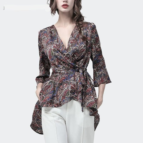V-Neck Wrap Multi Print Blouse  with High Low Hem - The Best Accessory