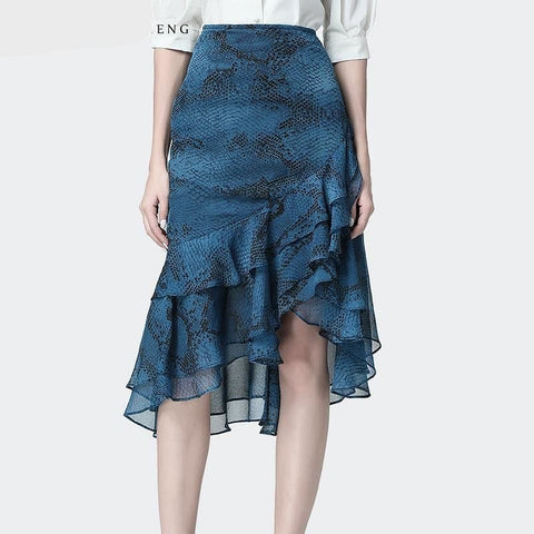 High Waist Snake Skin Print Blue Chiffon Mermaid  Skirt - The Best Accessory