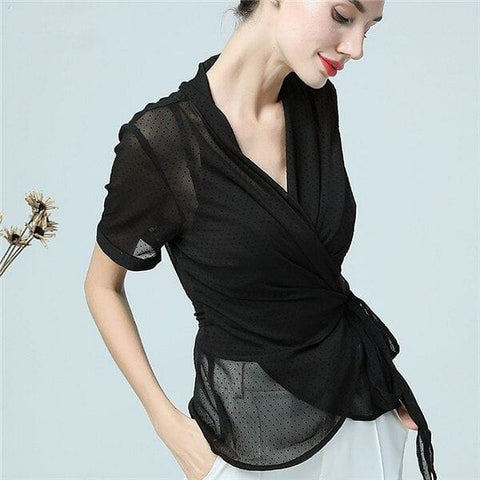 2 Piece Sheer Chiffon Black Polka Dot Wrap Blouse w/ Tank Top