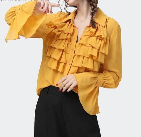 Elegant Yellow Chiffon Ruffled Loose Fitting Blouse w/ Flared Sleeves - The Best Accessory