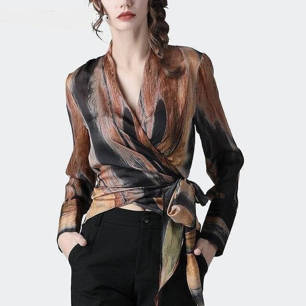 Satin Blouses  Mixed Colors Printed Long Sleeve V-Neck Sash Lace-Up Top Elegant Slim Casual Office Blouse - The Best Accessory
