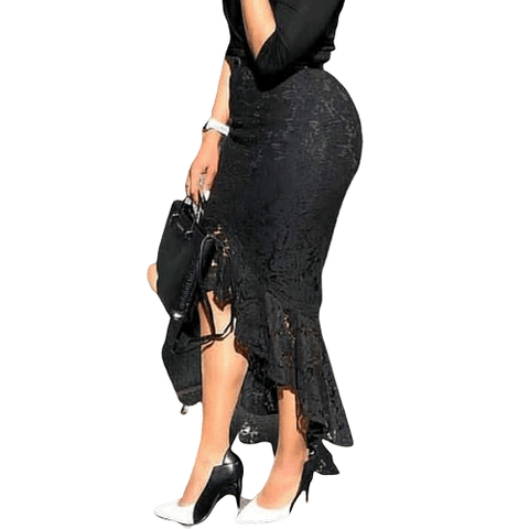 Black Lace  Midi Modest Classy Irregular Length Skirt - The Best Accessory