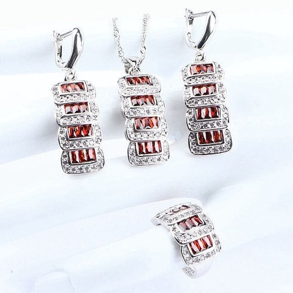 Silver 925 Zircon Jewelry Pendant Bracelet Ring Earrings Necklace Set - The Best Accessory