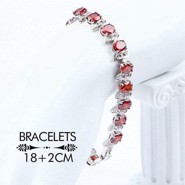Women Costume luxury Bridal Jewelry Sets Wedding Silver 925 Zircon Jewelry Pendant Bracelet Ring Earrings Necklace Set Gift Box - The Best Accessory