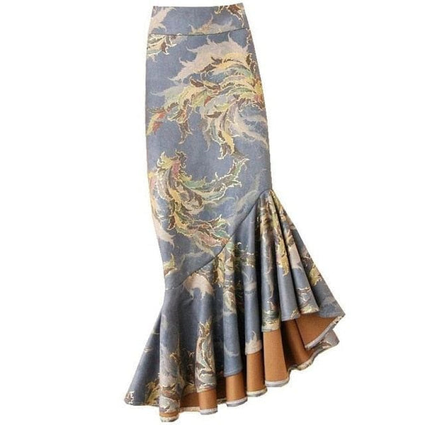vintage suede mermaid skirt women autumn and winter irregular package hip high waist printed trumpet skirt plus size - The Best Accessory