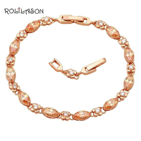 Elegant ROLILASON design White Crystal and Champagne Zircon Golden Bracelets - The Best Accessory
