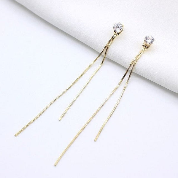 Vintage Gold Color Bar Long Thread Tassel Drop Earrings - The Best Accessory
