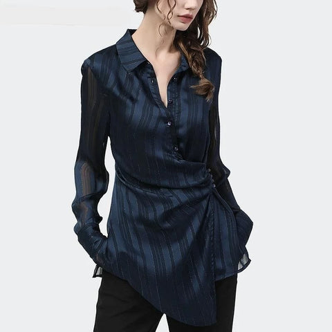 Dark Blue Striped Print Cardigan Style Blouse - The Best Accessory
