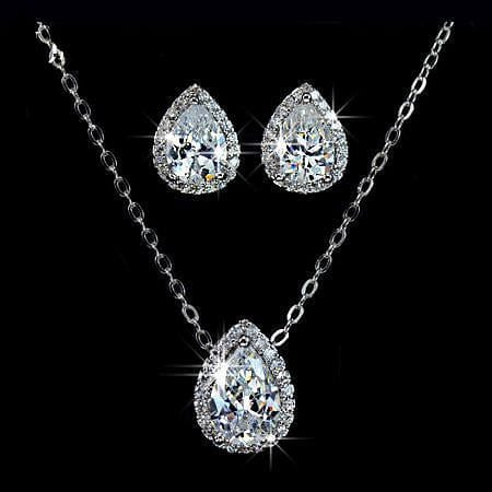 UMODE Water Drop Design Pear cut Top Quality Cubic Zircon Necklace and Earrings Jewellery Set US0008