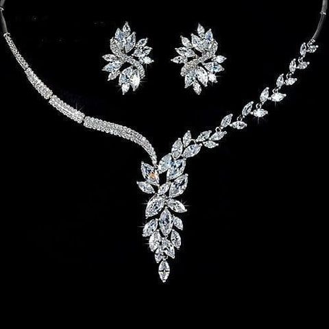 UMODE Luxury Elegant Wedding Jewelry Set Including 1 Pair Flower Stud Earrings & 1 Bridal CZ Stone Statement Necklace US0017 - The Best Accessory
