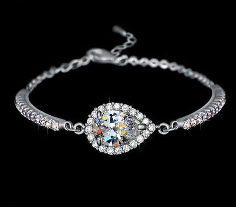 UMODE Austrian Rhinestones Cup Chain and Micro CZ Pave 2 Carat Pear Cut CZ Bracelet White Gold Color Jewelry for Women UB0042B - The Best Accessory
