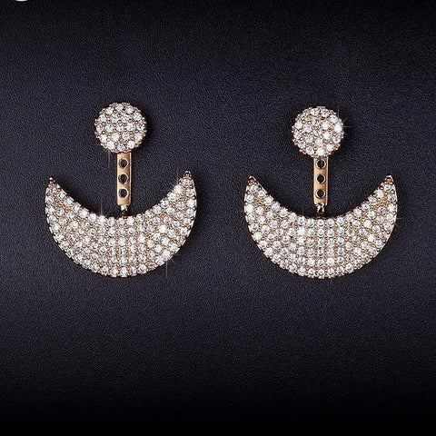 Moon And Sun Design Stud  CZ Paved Gold Earrings