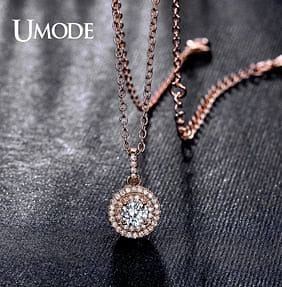 UMODE Classical Design Halo 0.5ct CZ Stone White Gold / Rose Gold Color Pendant Necklaces Jewelry for Women Collier UN0229 - The Best Accessory