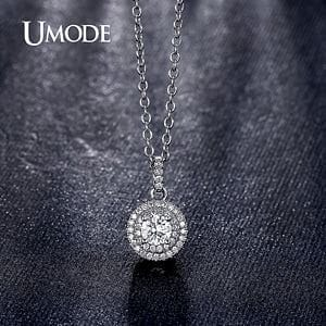 UMODE Classical Design Halo 0.5ct CZ Stone White Gold / Rose Gold Color Pendant Necklaces Jewelry for Women Collier UN0229