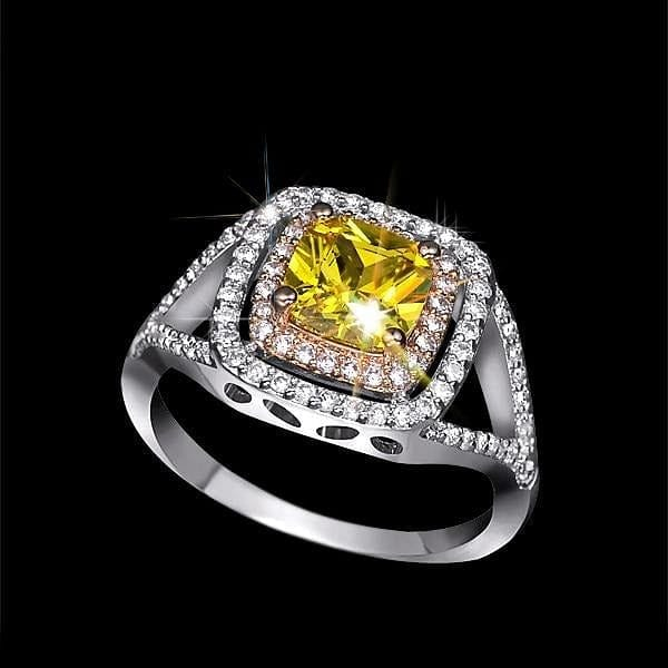 Two Tone Ring Rare Shiny Cushion Cut Yellow CZ Stone Halo  Ring - The Best Accessory