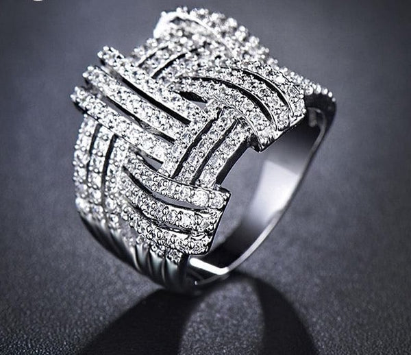 UMODE Weave Shaped Round Cut Clear CZ White Gold Color Cubic Zirconia Pave Rings Marca Jewelry for Women Hot Anillos UR0254