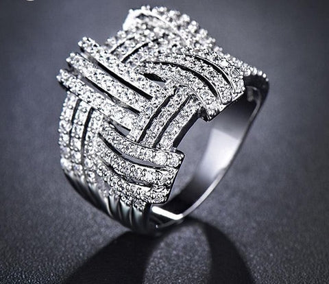 Weave Shaped Round Cut Clear CZ White Gold Color Cubic Zirconia Pave Rings Marca - The Best Accessory