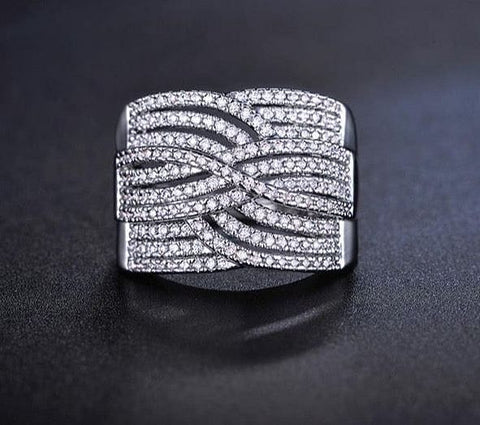 X Cross Ring Band Micro Cubic Zircon Cubic Zirconia Pave White Gold - The Best Accessory