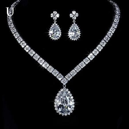 UMODE Four Leaf Clover Ultra Big Pear Cut Cubic Zirconia Drop Wedding Necklace and Earrings Set US0011