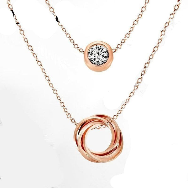 Multi Layer Genuine Austrian Rhinestones Rose Gold Color Pendant Crystal Necklace
