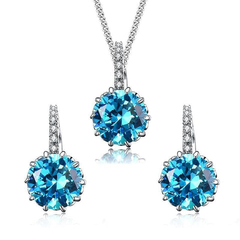 UMODE Fashion Top Blue Round CZ Necklace/Earrings Wedding Jewelry Sets for Women White Gold Color Crystal Jewelry Sets US0037 - The Best Accessory