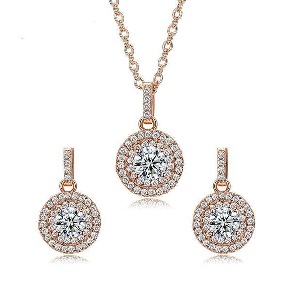 UMODE Brand Lovely Rose Gold Color Halo 0.5ct Round CZ Crystal Wedding Jewelry Sets for Women Fashion Accessories Sets US0041A