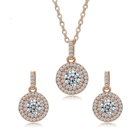 Lovely Rose Gold Color Halo 0.5ct Round CZ Crystal - The Best Accessory
