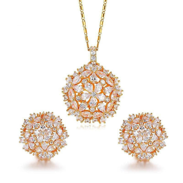 Cluster Flower Design AAA+ CZ  Gold Color Necklaces Pendant Stud Earrings - The Best Accessory
