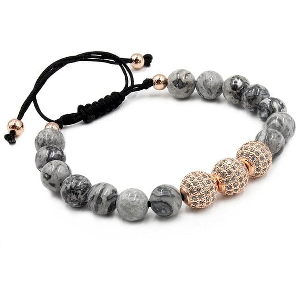 Natural Gray Map Stone Bracelet Pave CZ Charms Bracelet For Men Jewelry Natural Stone Bracelets Pulseras homme Buddha Bracelet - The Best Accessory