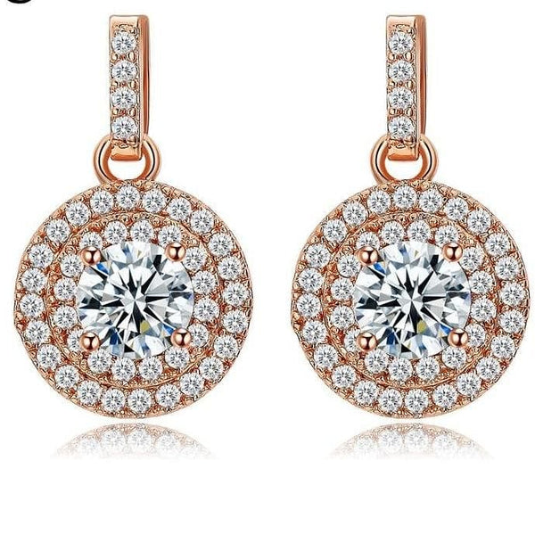 Crystal Drop White / Rose Gold Color Earrings - The Best Accessory