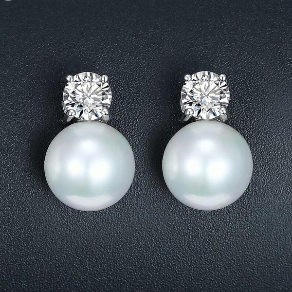 Pearl Jewelry Stud Earrings White Gold Color CZ - The Best Accessory