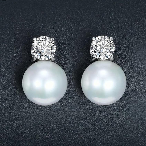 Pearl Jewelry Stud Earrings White Gold Color CZ