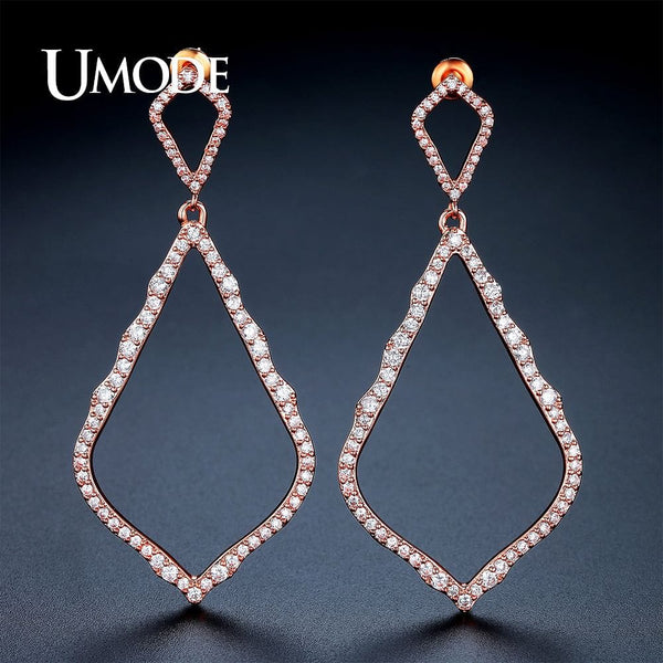 New Big Long Hollow Rhombus Drop Earrings  Rose Gold Color Boucle D'oreille