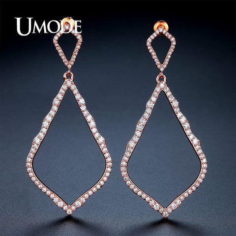 New Big Long Hollow Rhombus Drop Earrings  Rose Gold Color Boucle D'oreille - The Best Accessory