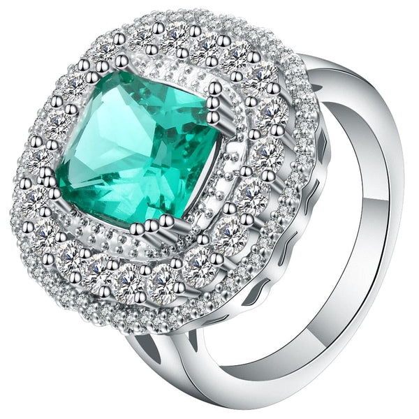 UFOORO Green Micro Pave Zircon Round  Silver Color Elegant CZ Ring - The Best Accessory