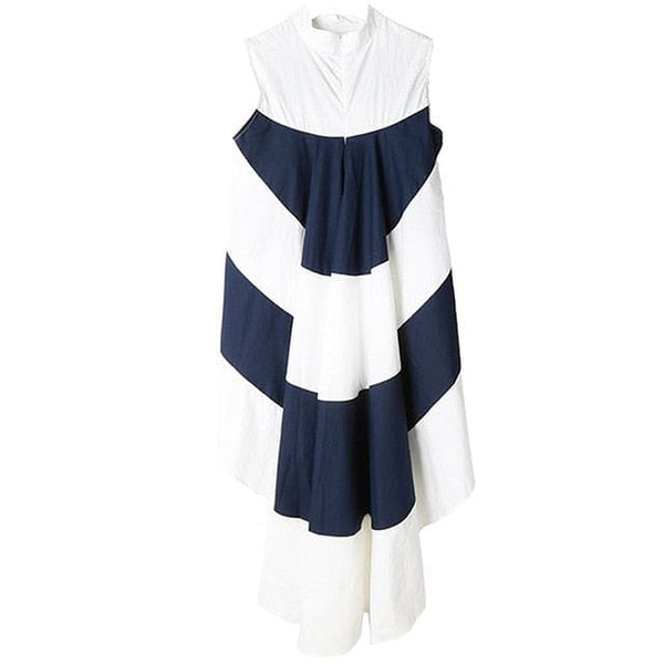 Striped Sleeveless  Asymmetrical Maxi Blouse