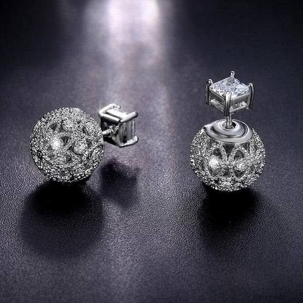 Double Size Crystal Stud Earrings Boucle D'Oreille Femme - The Best Accessory