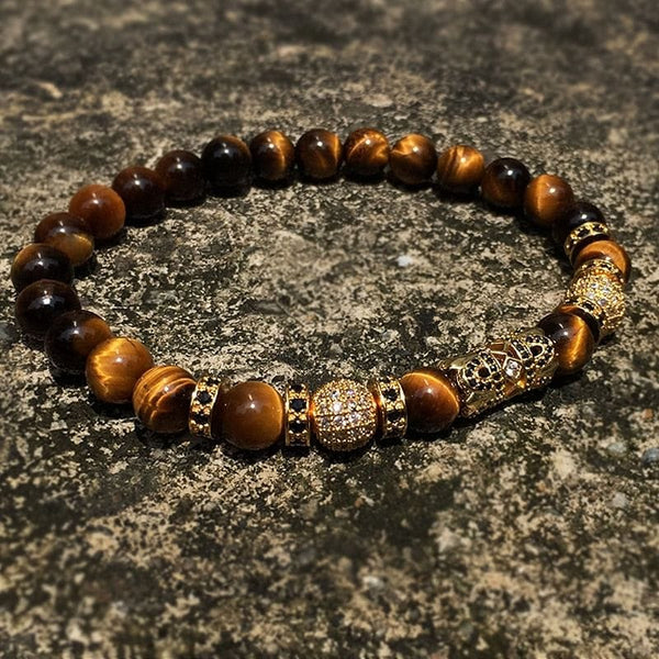 Natural Tiger eye Stone CZ Crown Beaded Bracelet - The Best Accessory