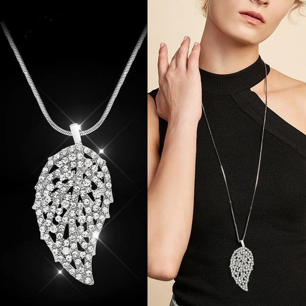 RAVIMOUR Big Leaf Crystal Necklaces & Pendants Long Sweater Chain - The Best Accessory