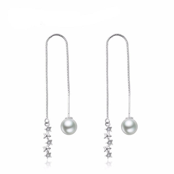 Unique Korean Pearl Long CZ Drop  Earrings - The Best Accessory