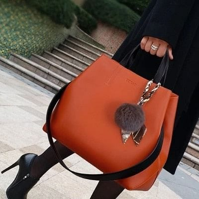 Big Leather Bulb Tote Shoulder Bag - The Best Accessory