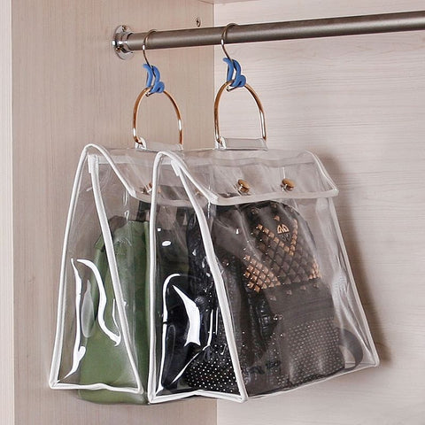 Hanging Handbag Organizer For Wardrobe Closet Transparent Durable Storage Bag Door Wall Clear Sundry Shoe Bag With Hanger Pouch - The Best Accessory