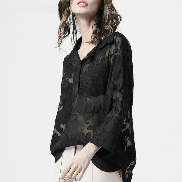 Perspective Long Floral Shirt Mesh Blouse Turn-down Collar Loose Fitting Top - The Best Accessory