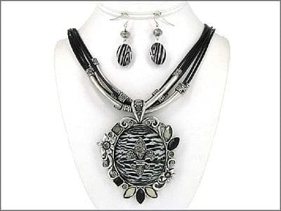 Fleur De Lis Designer Zebra Necklace with Earrings - The Best Accessory