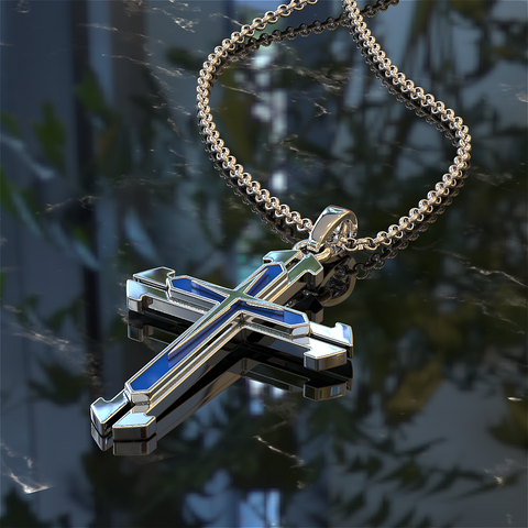 Thin Blue Line Cross Pendant Silver and Blue Police Necklace