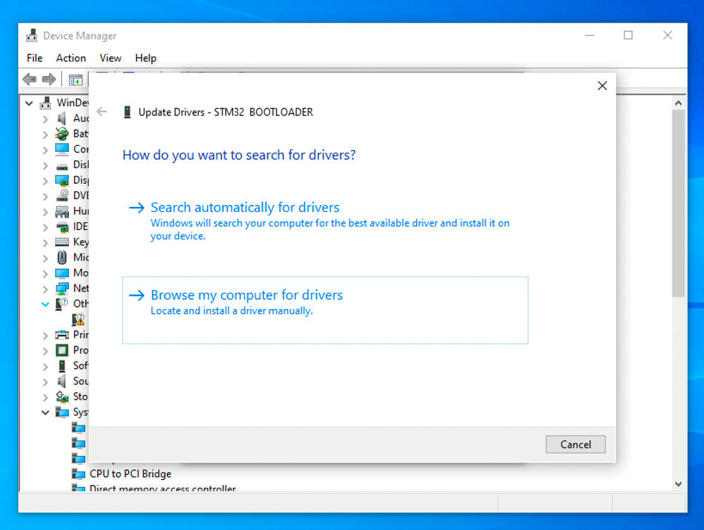 screenshot of Windows device manager Browse for drivers window