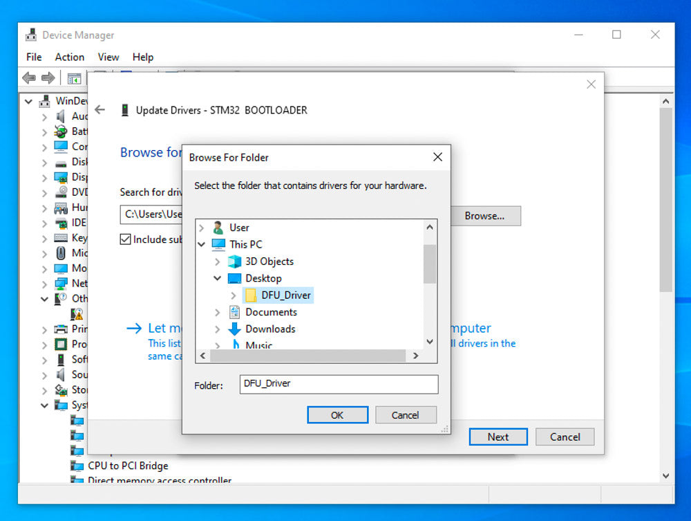 screenshot of Windows device manager showing Browse for Folder window