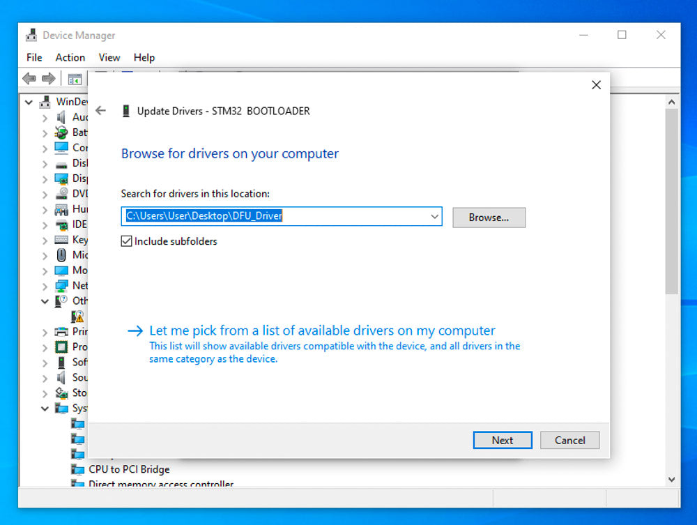screenshot of Windows device manager showing DFU_Driver folder selected