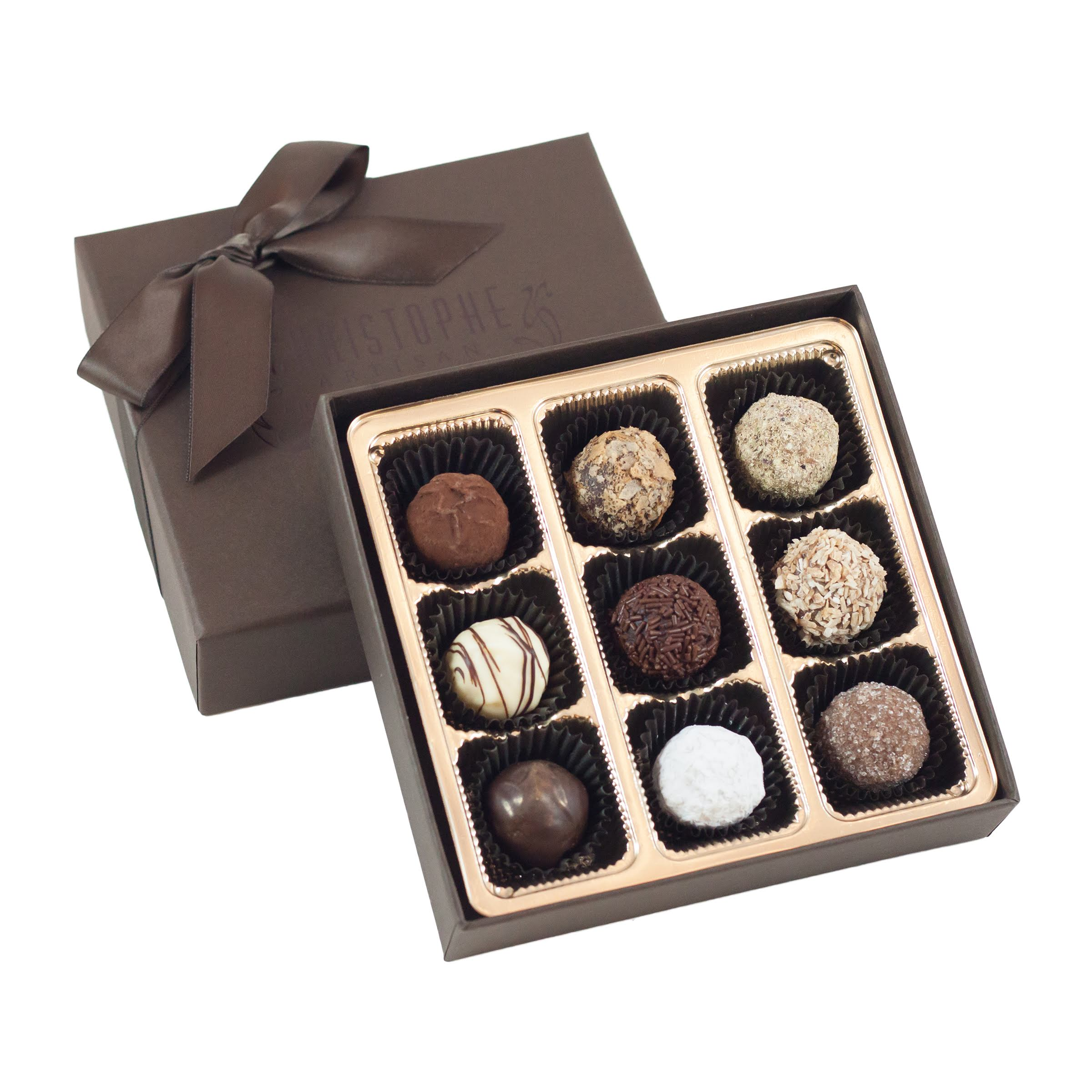 9 piece truffle collection christophe artisan chocolatier