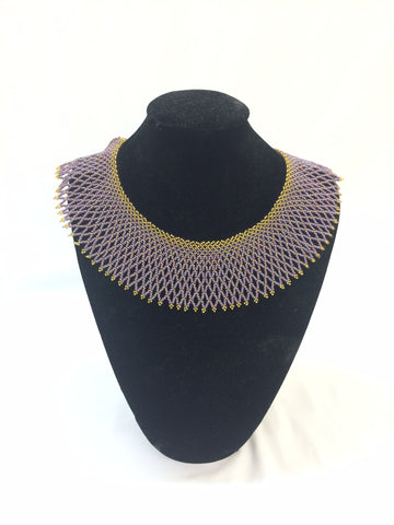 Beaded Necklace & Bracelet Set - Purple & Gold